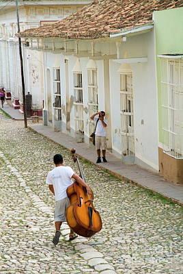 Double Bass Photograph - Cuban Man Carrying A Cello by Sami Sarkis