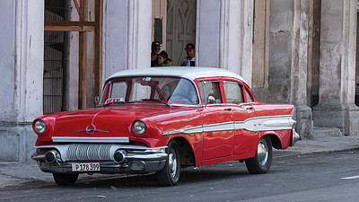 Photograph - Cuban Red Car by David Warrington
