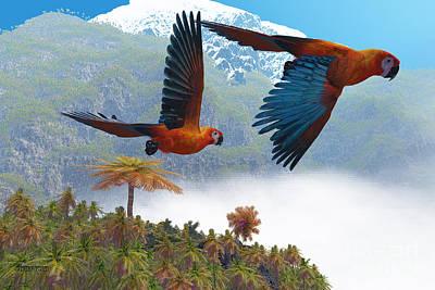 Laying Digital Art - Cuban Red Macaw by Corey Ford