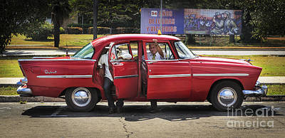 Photograph - Cuban Taxi Drivers Taking A Break by Craig J Satterlee