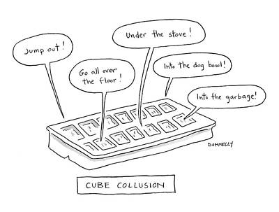Plotting Drawing - Cube Collusion by Liza Donnelly
