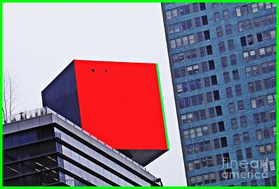 Photograph - Cube On 42nd Street Red 2 by Sarah Loft