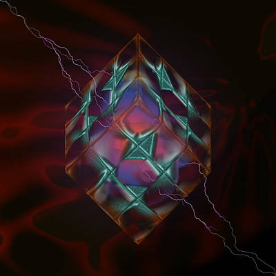 Digital Art - Cube With Thunders 01 by Aleksandar Zisovski
