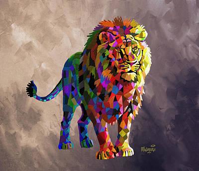 Painting - Geometrical Lion King by Anthony Mwangi