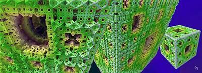 Digital Art - Cubes In Green by Ron Bissett