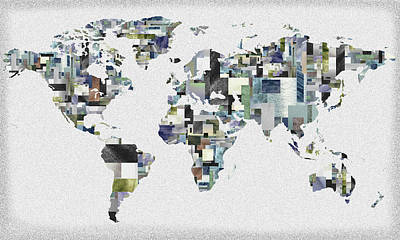 Painting - Cubical World Watercolor Map by Irina Sztukowski