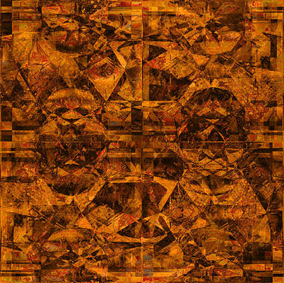 Photograph - Cubism Abstract Gold Rust by Suzanne Powers
