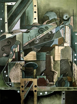 Abstract Collage Drawing - Cubism by Noor Shaikh