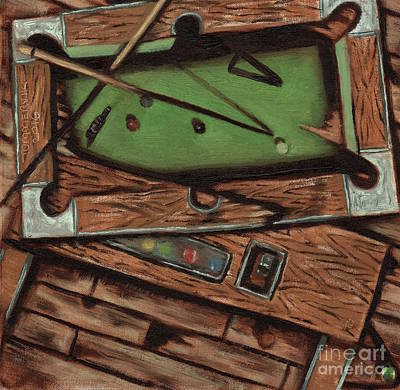 Print featuring the painting Cubism Pool Table Billiard Art Print by Tommervik