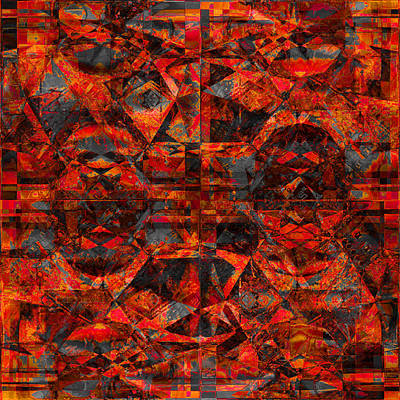 Photograph - Cubist Abstract Orange Charcoal by Suzanne Powers