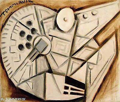 Painting - Cubist Millennium Falcon Painting by Tommervik