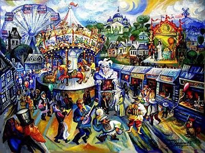 Roussimoff Wall Art - Painting - Cubist Russian Carnival Day by Ari Roussimoff