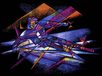 Drawing - Cubist Skier by Nancy Griswold