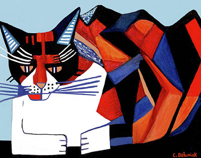 Picasso Style Painting - Cubistic Cat by Candace Behuniak
