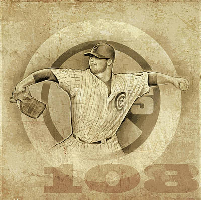 Series Drawing - Cubs 108 by Greg Joens