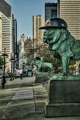 Cubs Hats On Art Institute Lions Art Print by Sven Brogren