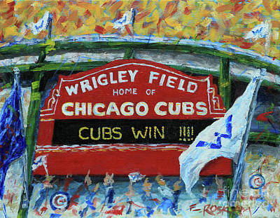 Wrigley Field Painting - Cubs Win by Elizabeth Roskam