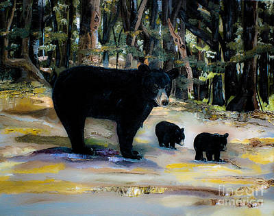 Cubs With Momma Bear - Dreamy Version - Black Bears Original
