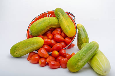 Culinary Photograph - Cucumber And Tomato by Erich Grant