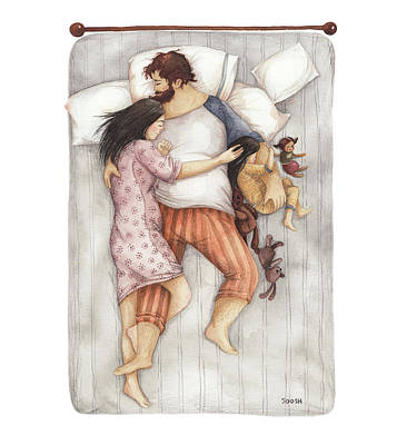 Sleep Wall Art - Drawing - Cuddles by Soosh