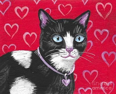 Painting - Cuddles The Tuxedo Cat by Margaryta Yermolayeva