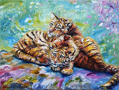 Painting - Cuddling Cubs by Yelena Rubin
