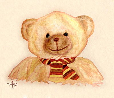 Teddy Bear Watercolor Painting - Cuddly Bear Watercolor by Angeles M Pomata