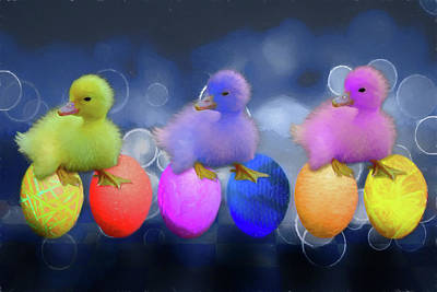 Digital Art - Cuddly Ducklings by John Haldane