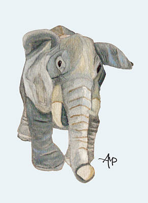 Cuddly Elephant Watercolor Art Print by Angeles M Pomata