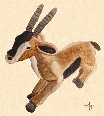 Gazelle Painting - Cuddly Gazelle Watercolor by Angeles M Pomata