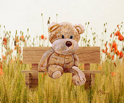 Bear Mixed Media - Cuddly In The Garden by Angeles M Pomata