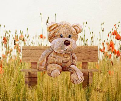 Polar Bear Mixed Media - Cuddly In The Garden by Angeles M Pomata