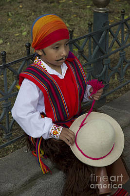 Poncho Photograph - Cuenca Kids 690 by Al Bourassa