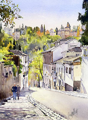 Painting - Cuesta Chapiz Granada by Margaret Merry