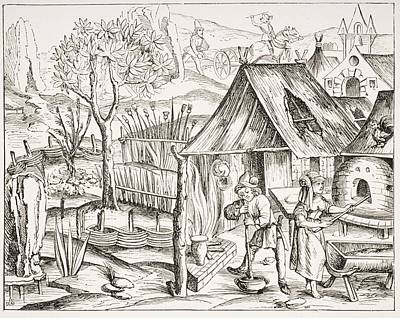Wood Grain Drawing - Cultivation Of Grain By Peasants And by Vintage Design Pics