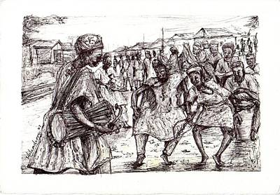 Drawing - Cultural Dance by Wale Adeoye