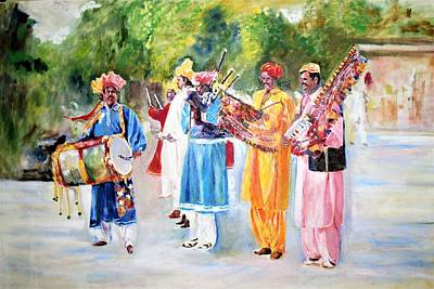 Painting - Cultural Musical Band by Khalid Saeed