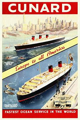 Cunard - Europe To All America - Vintage Poster Restored Original