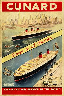 Cunard - Europe To All America - Vintage Poster Vintagelized Original
