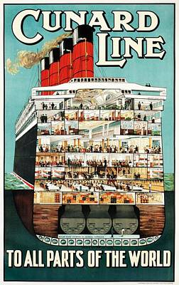 Cunard Line To All Parts Of The World - Cruise Liner Ship, Steamer Ship - Vintage Travel Poster Art Print