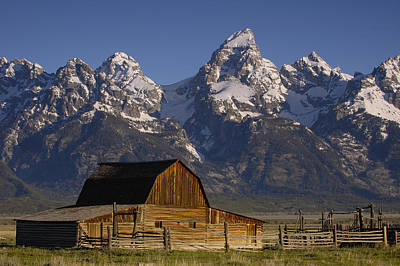 Mountain Range Photograph - Cunningham Cabin In Front Of Grand by Pete Oxford