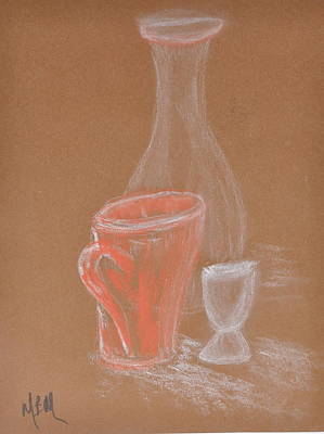 Cup And Bottle Still Art Print by MaryBeth Minton