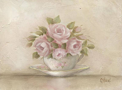 Art Print featuring the painting Cup And Saucer  Pink Roses by Chris Hobel
