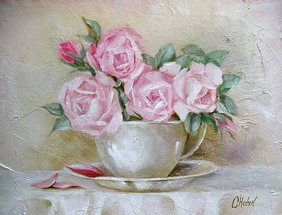 Art Print featuring the painting Cup And Saucer Roses by Chris Hobel