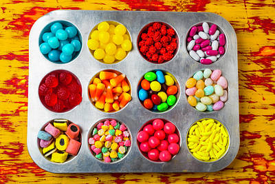 Gummy Photograph - Cup Cake Tray Full Of Candy by Garry Gay