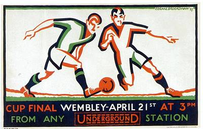 London Tube Mixed Media - Cup Final Wembley - London Underground - Retro Travel Poster - Vintage Poster by Studio Grafiikka
