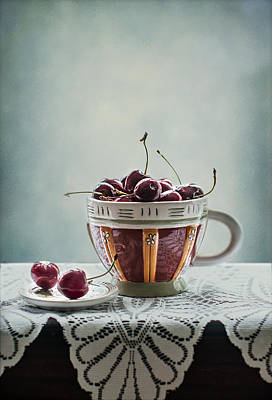 Table Cloth Photograph - Cup Of Cherries by Maggie Terlecki