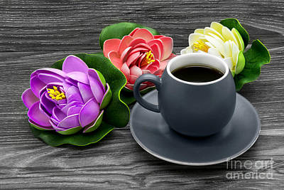 Photograph - Cup Of Coffee And Artificial Colored Water Lilies by Nika Lerman