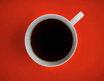 Mixed Media - Cup Of Coffee Red by Dan Sproul