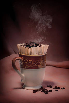 Beans Photograph - Cup Of Hot Coffee by Tom Mc Nemar